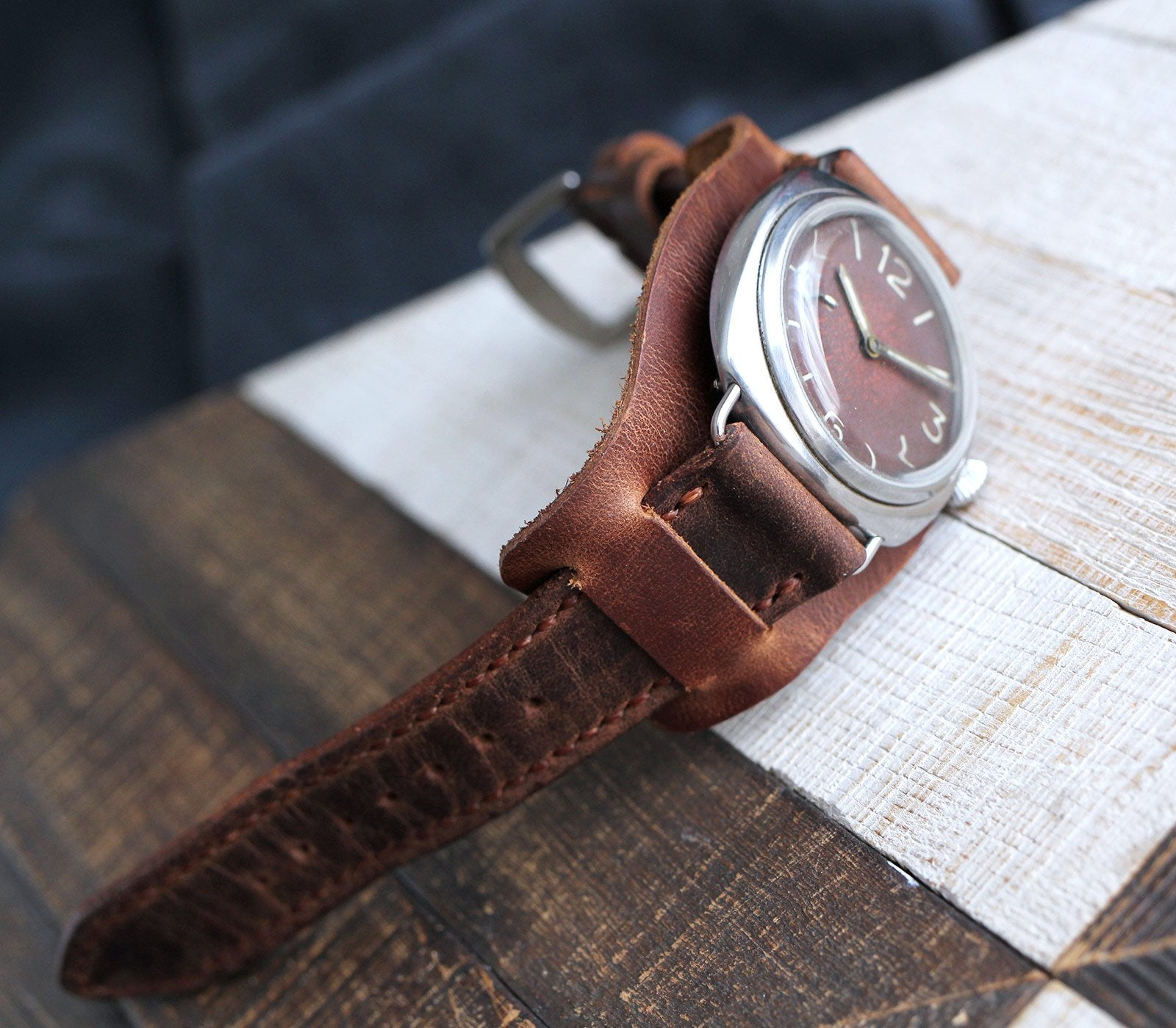 (NEW) Custom Made Bund Strap - Antique Brown