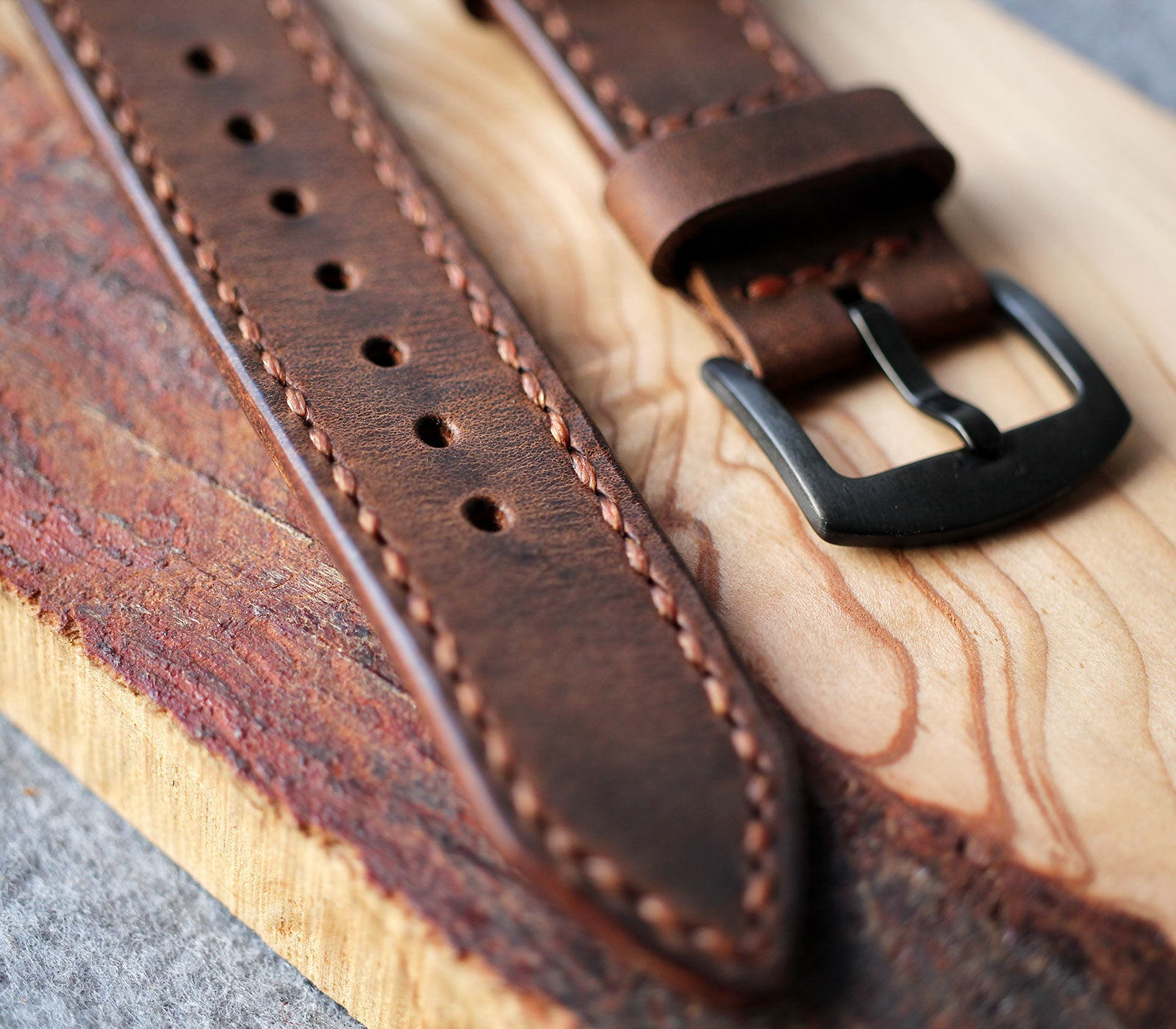 Custom Made Leather Watch Strap - Antique Brown