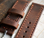 Custom Made Leather Watch Strap - Antique Tobacco
