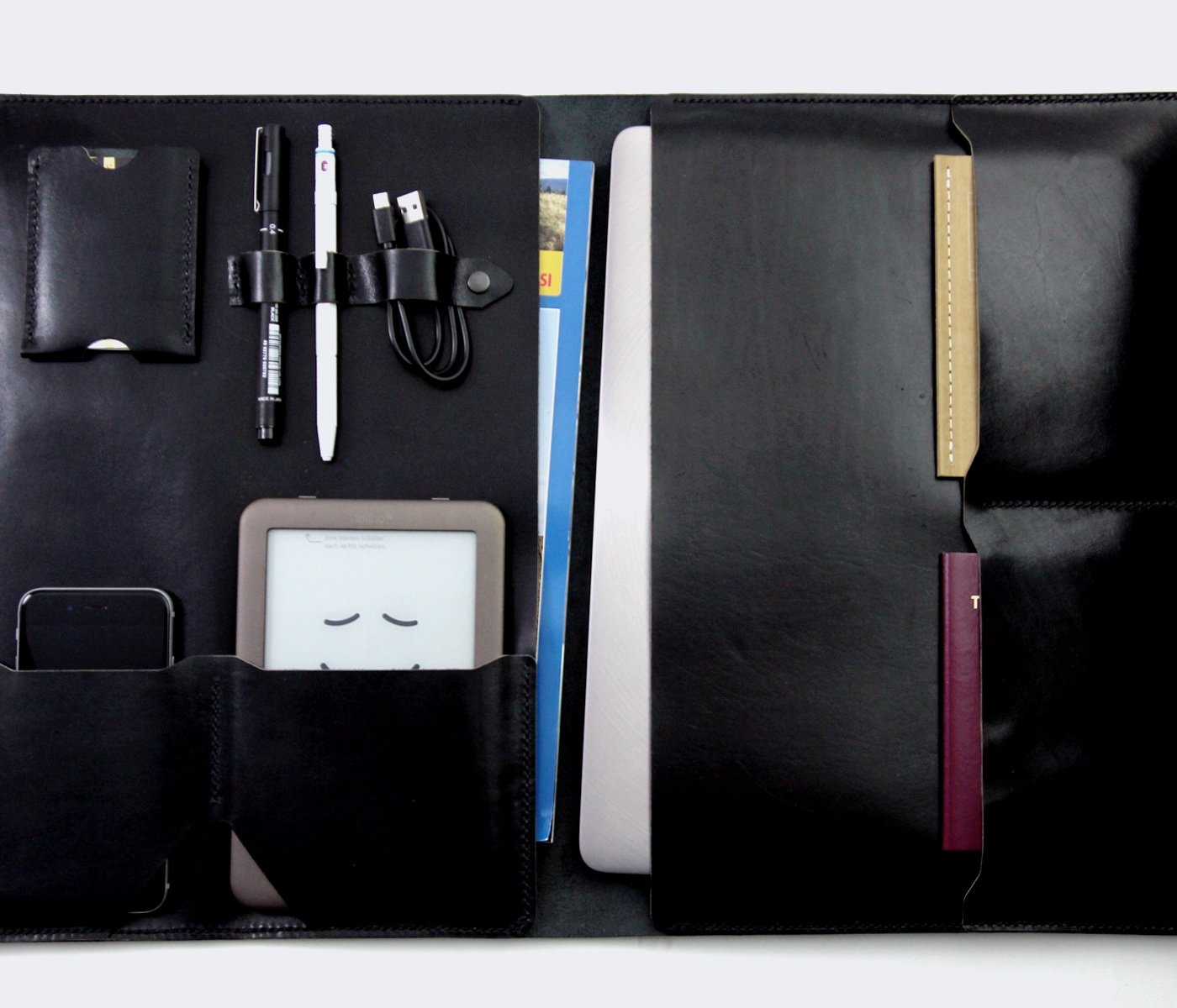 "Siyah Deri 13"" Macbook Organizer -  Leather Case - Roarcraft"