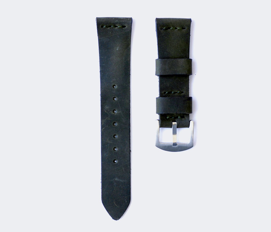 Leather Watch Strap - Antique Green by Roarcraft