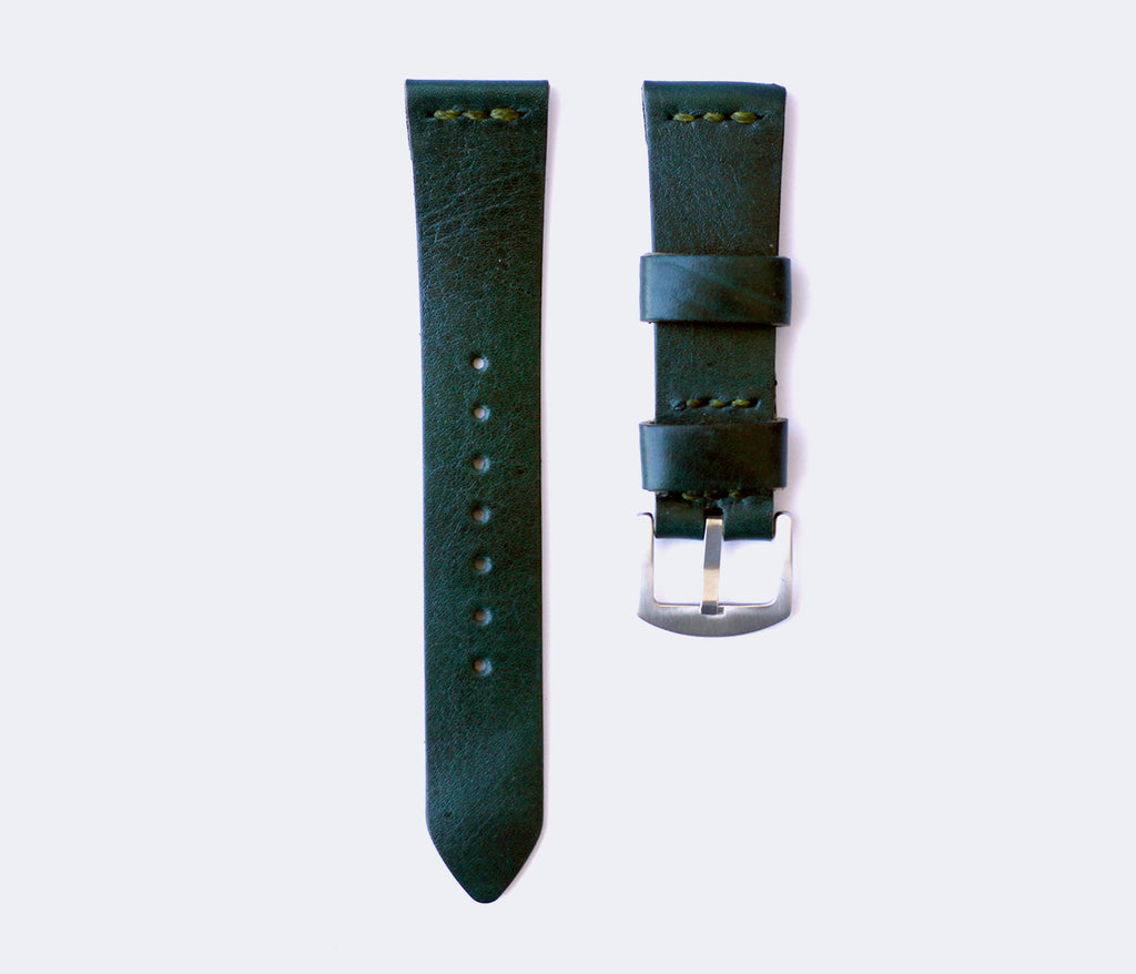 Leather Watch Strap - Emerald Green by Roarcraft