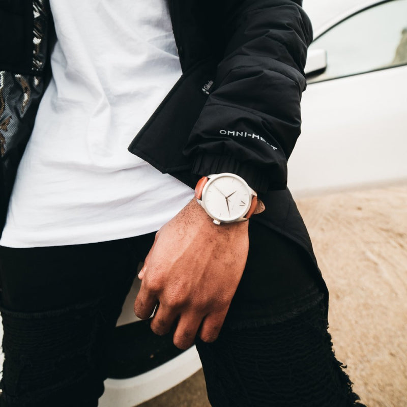 Rose, white and silver Stainless Steel Classic Watch with a brown Full Grain Leather Strap for men by GenerationNow, Model Icarus, worn by model