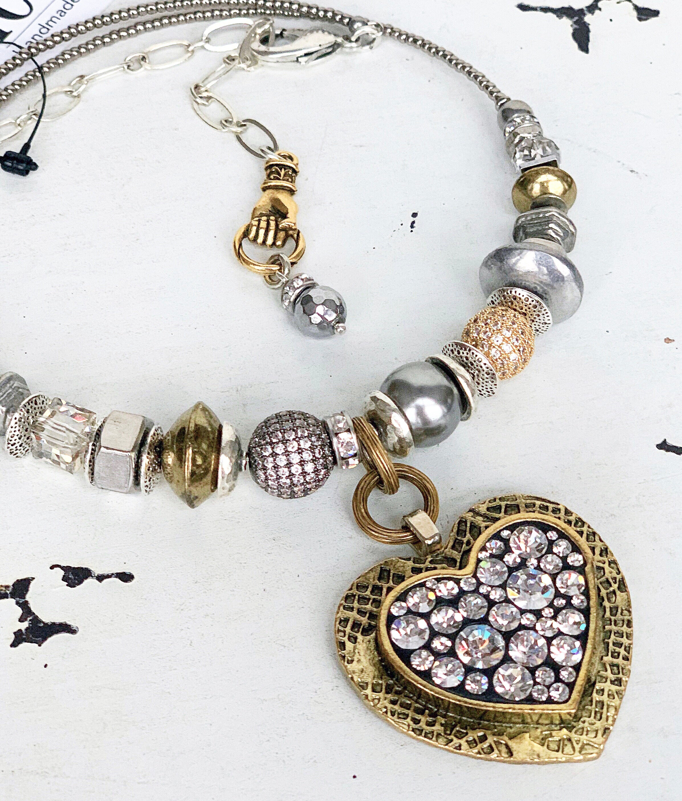 Industrial Bling Heart - Lg Gold