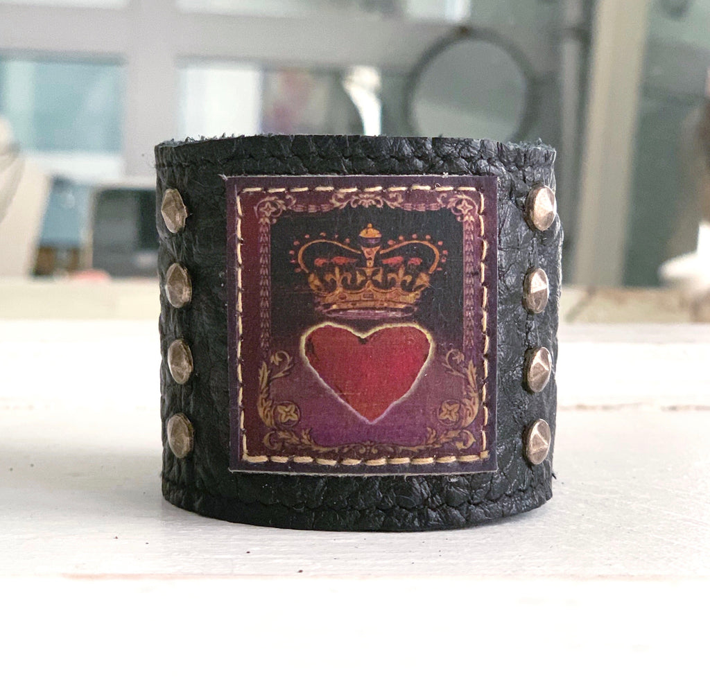 Royal Painted Heart Cuff
