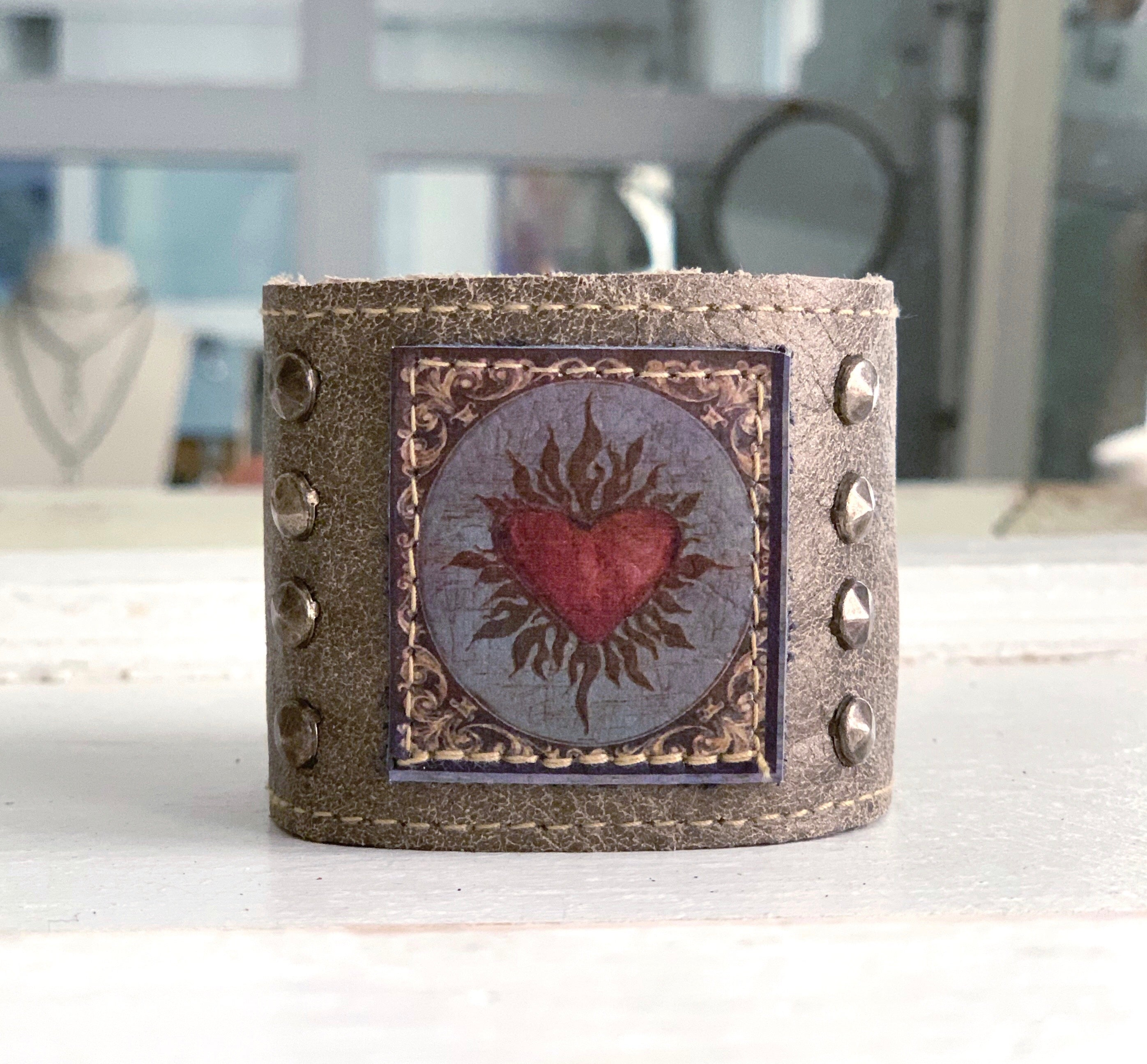 Painted Heart Cuff
