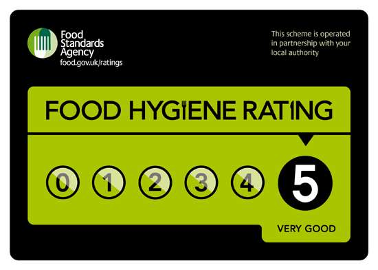 Tilly Wonka in Cheshire achieves a food hygiene rating of 5 out of 5.