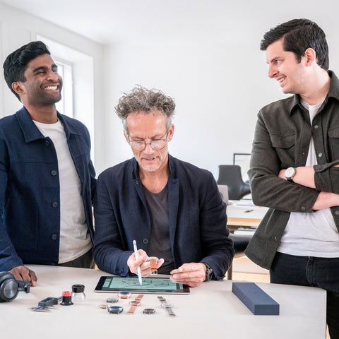 The Pioneer Chronograph: Winner of the 2020 Red Dot Award for Design, image of Jakob Wagner, Pascar Sivam, and Vasilij Brandt.