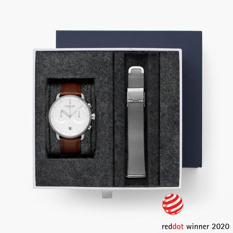 The Pioneer Chronograph: Winner of the 2020 Red Dot Award for Design, image of Pioneer watch bundle.