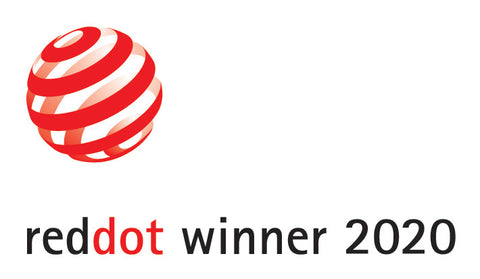 The Pioneer Chronograph: Winner of the 2020 Red Dot Award for Design, image of red dot logo.