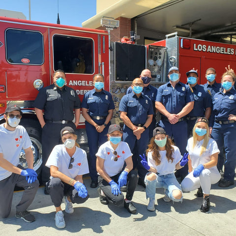Fuel Them LA: Feeding Our Frontline Healthcare & Rescue Workers, image of fuelthem la team and la firefighters.