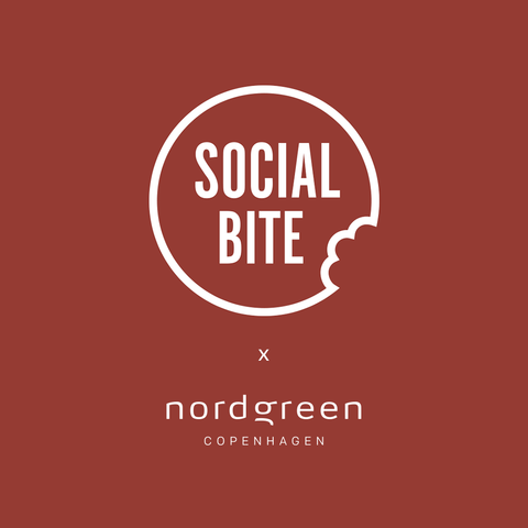 The Greatest Gift of All is the Gift of Giving, image of social bite and nordgreen logos.