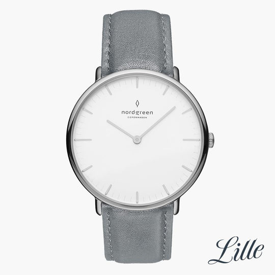Native | White Dial - Grey Leather