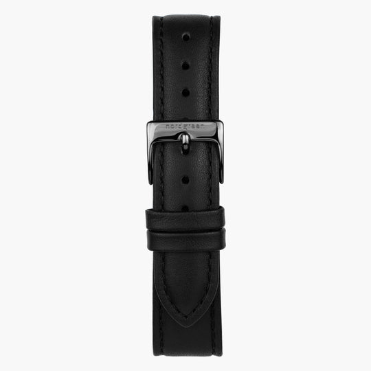 Black Leather Watch Strap - Gun Metal - 36mm