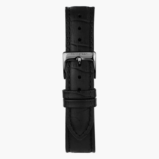 Black Croc Leather Watch Strap - Gun Metal - 40mm