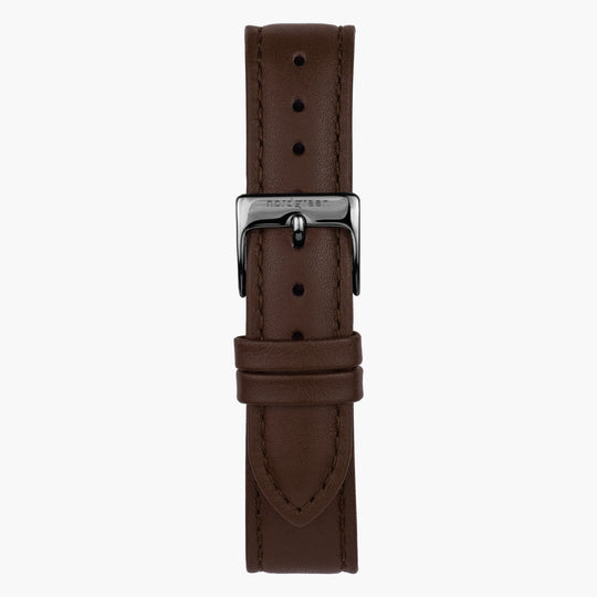 Dark Brown Leather Watch Strap - Gun Metal - 40mm