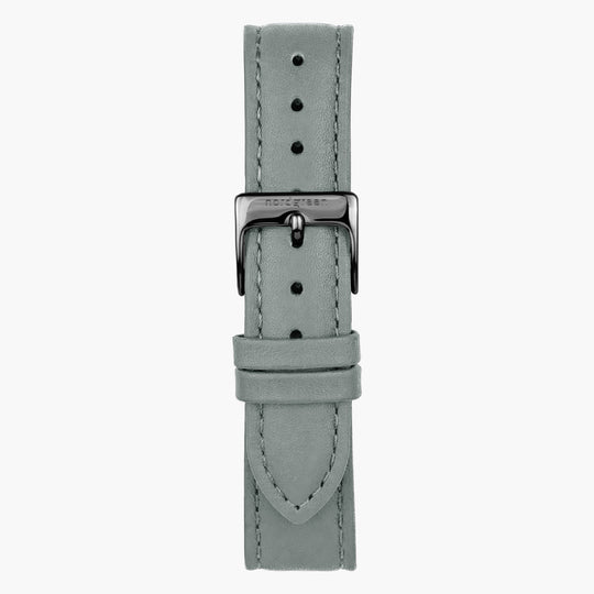 Grey Leather Watch Strap - Gun Metal - 36mm