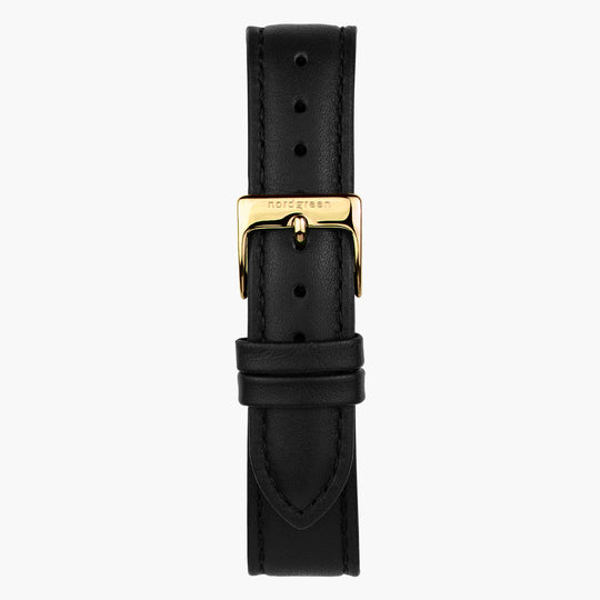 Black Leather Watch Strap - Gold - 36mm