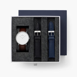 Native - BUNDLE White Dial Silver | Dark Brown Leather / Black Leather / Navy Leather Strap