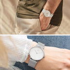 Native - BUNDLE White Dial Silver | Silver Mesh / Olive Green Nylon / Black Leather Strap