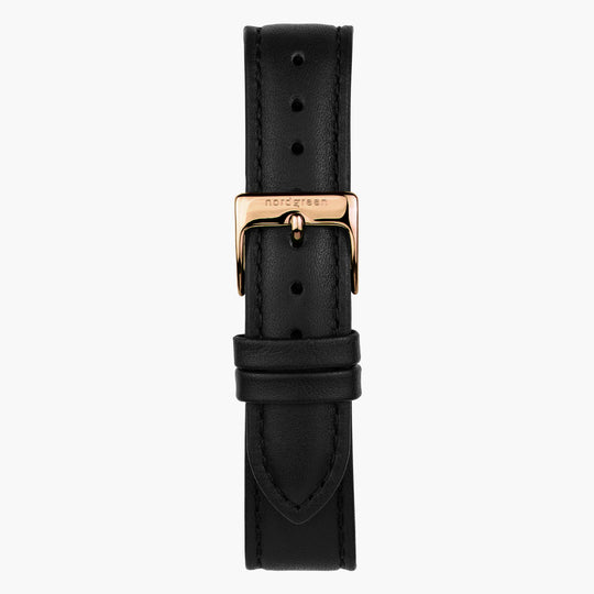 Black Leather watch Strap - Rose Gold - 40mm