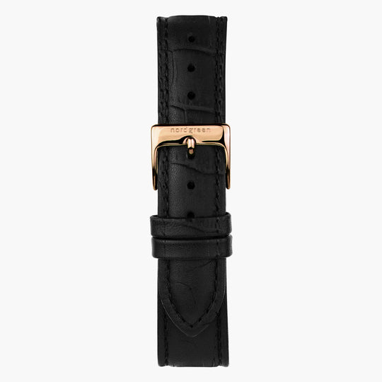 Black Croc Leather Watch Strap - Rose Gold - 40mm