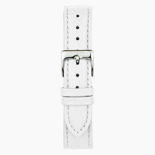 White Leather Watch Strap - Silver - 32mm