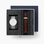 Native - BUNDLE White Dial Silver | Mesh / Brown Leather Strap