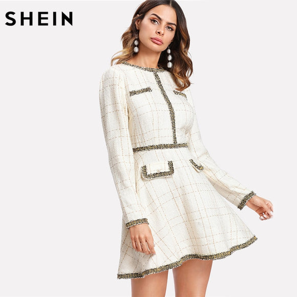 bee459baa4 SHEIN Fit and Flare Elegant Women Dress Fringe and Pearl Embellished Tweed  Dress Multicolor Long Sleeve