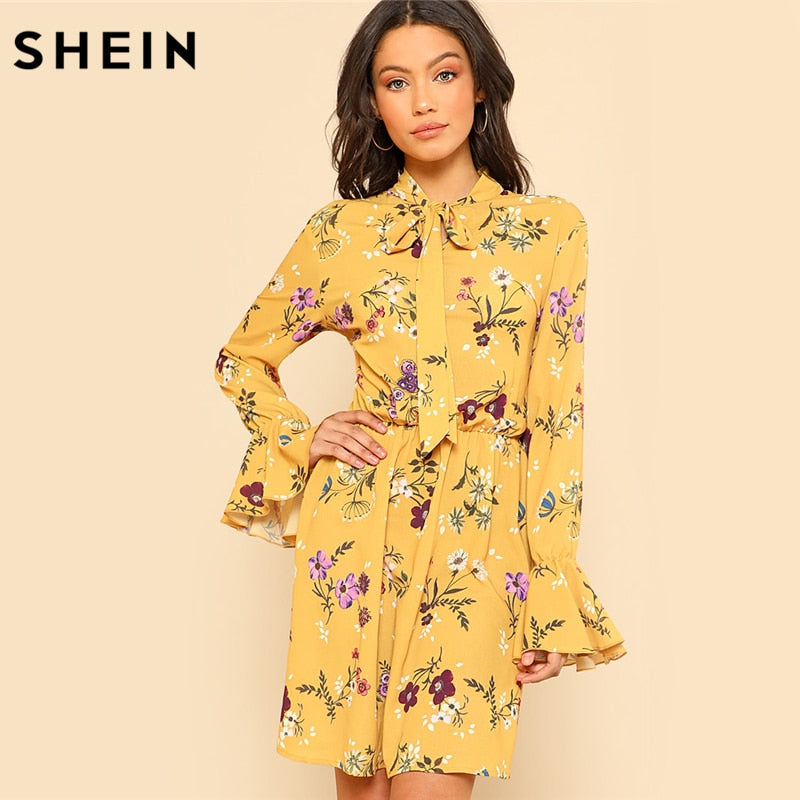 0c59f6a2c6 SHEIN Yellow Dress Women Spring Dresses Casual Tie Neck Elastic Waist  Floral Dress Ruffle Long Sleeve ...