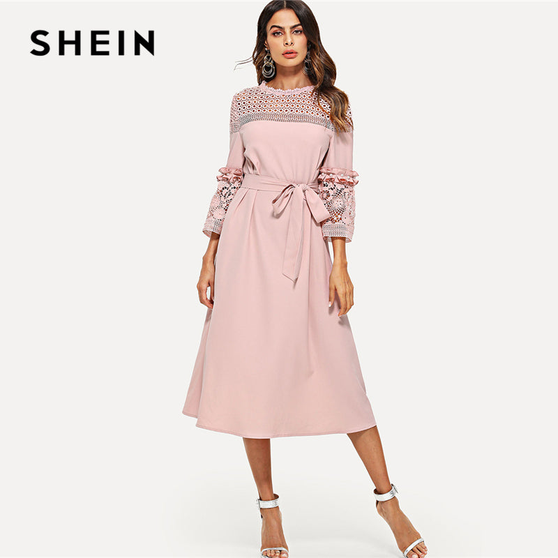 695f5d451d SHEIN Lace Yoke and Sleeve Pearl Beading Belted Dress Pink 3/4 Sleeve  Ruffle Straight ...