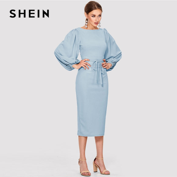 6fe1e1a960a48 SHEIN Elegant Workwear Blue Solid Tie Waist Lantern Sleeve Boat Neck Knot  Zipper Pencil Dresses Women