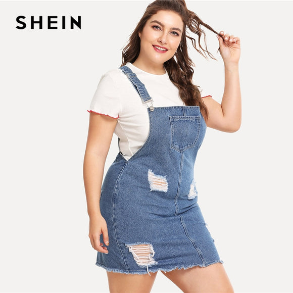 11534b03f1 SHEIN Hem Distressed Denim Overall Dress 2018 Summer Straps Sleeveless  Ripped Clothing Women Plus Size Casual