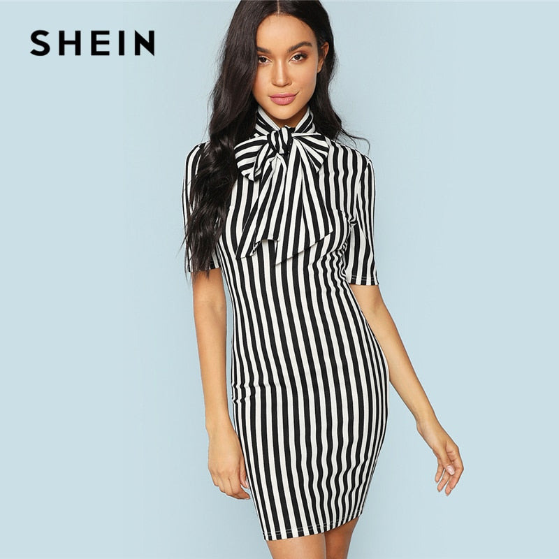 23e2568c59 SHEIN Black And White Office Lady Elegant Bow Tie Neck Striped Natural  Waist Pencil Dress 2018 ...