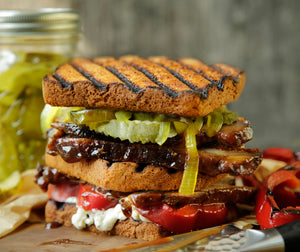 BBQ Brisket Sandwich With Blue Cheese & Roasted Peppers on Daily Kneads Red Pepper Bread