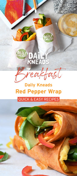 Daily Kneads Roasted Red Pepper Vegetable Wrap Vegetarian Breakfast Recipe