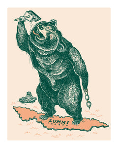 Unframed Giclee Print of Lummi Island's Swimming Bear