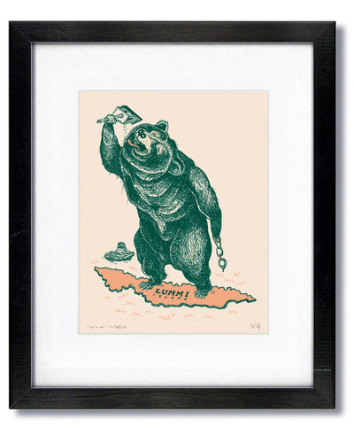 Swimming Bear Print in Black Frame