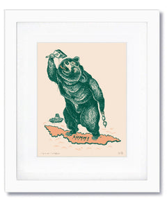 Swimming Bear • Signed & Framed Limited Series Giclee Print