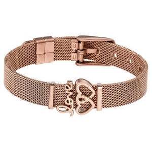 "DOUBLE LOVE MESH BANGLE ""ROSE GOLD"""