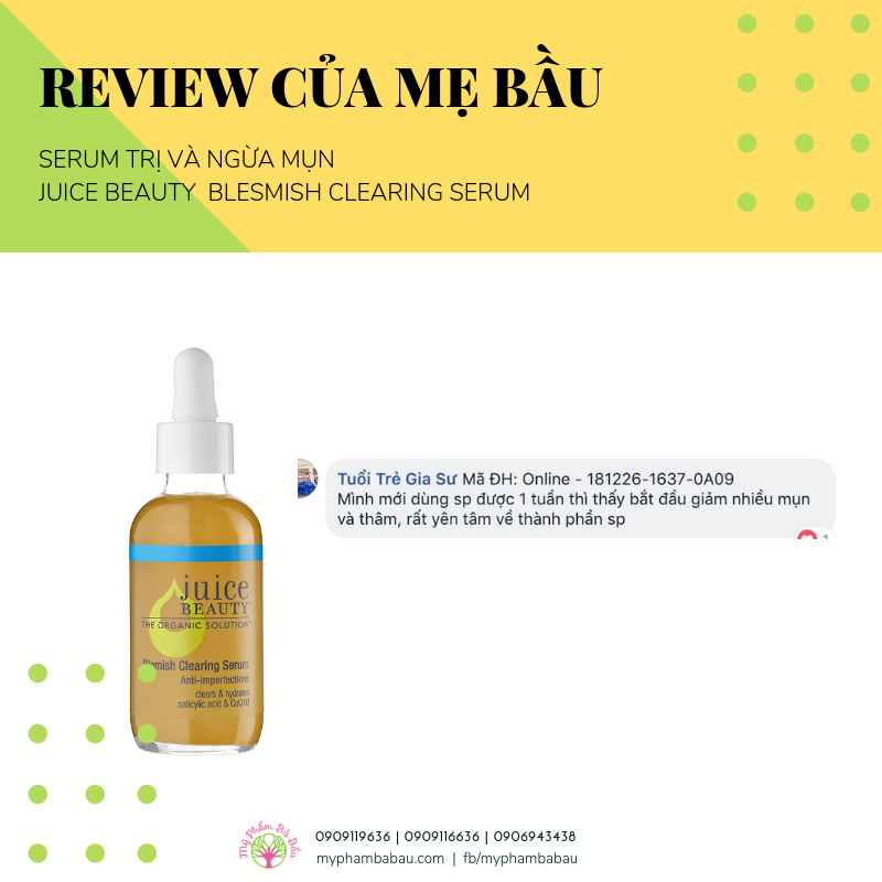Serum trị mụn an toàn thai kỳ Juice Beauty Blemish Clearing Serum