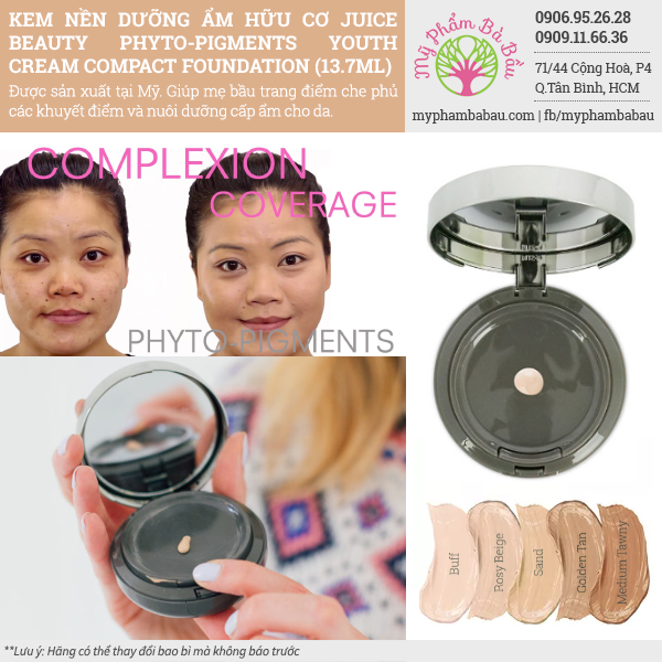 Kem Nền Dưỡng Ẩm Hữu Cơ Juice Beauty Phyto-Pigments Youth Cream Compact Foundation