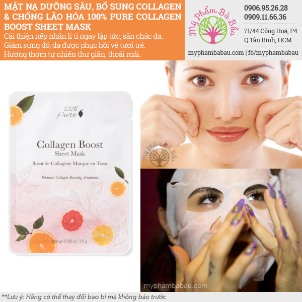 Mặt Nạ Collagen 100% Pure Collagen Boost Sheet Mask - 1 Sheet
