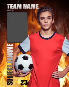 Soccer Flames Photo Template