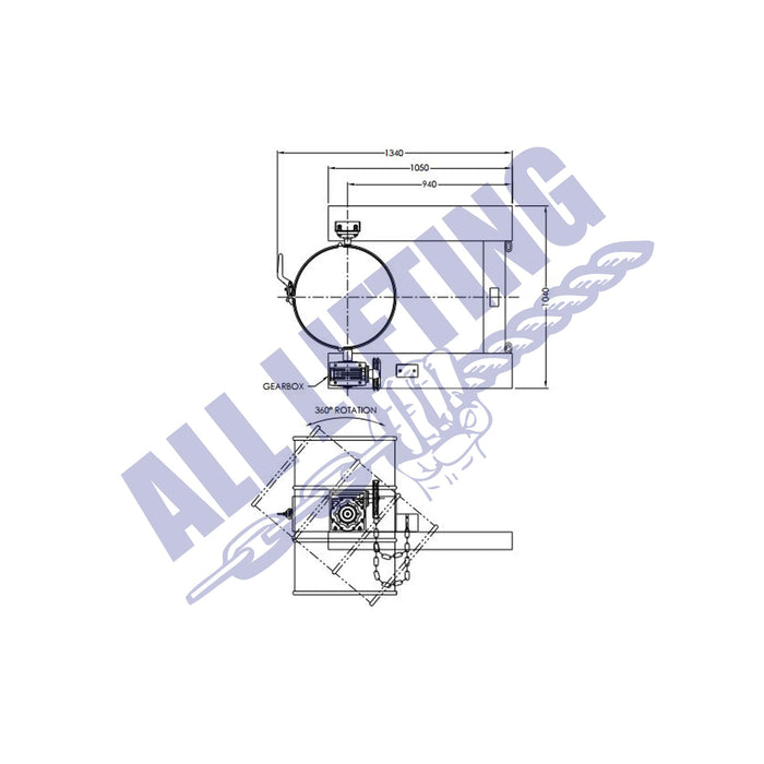 Forklift-drum-rotator-with-chain-diagram-with-measurements-All-Lifting