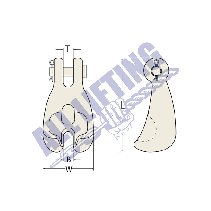 Clevis Claw Hook Grade 70