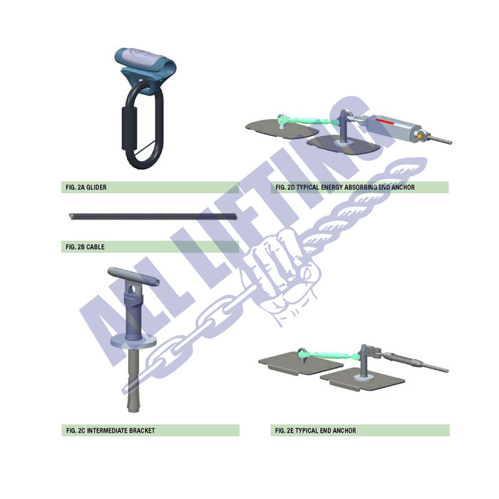 Hammerhead-lifeline-system-components-including-glider-end-anchor-cable-and-bracket-All-Lifting