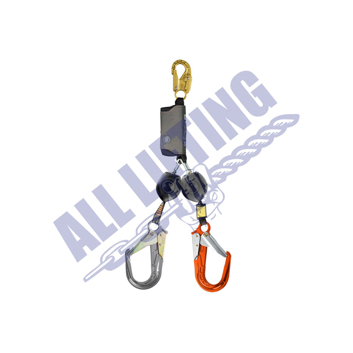 Peanut Twin Self Retracting Lanyard with Snap Hook and Alu Scaff Hook (Type 2)