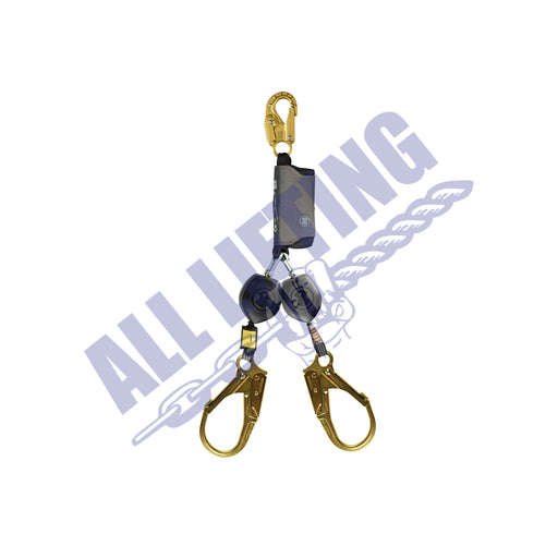 Peanut Twin Self Retracting Lanyard with Snap Hook and Steel Scaff Hook (Type 2)