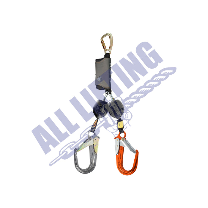Peanut Twin Self Retracting Lanyard with Karabiner and Alu Scaff Hook (Type 2)
